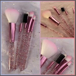 Glitter ✨ pink Makeup Brushes 5pc